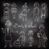 The teacher with the students. Drawing chalk Royalty Free Stock Image