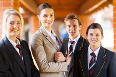 Teacher students group Stock Photo