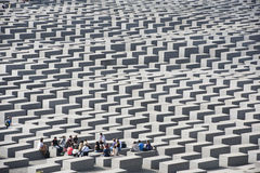 Teacher and Students Holocaust Memorial Berlin Stock Image
