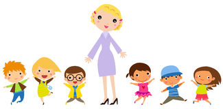Teacher and students. Illustration of teacher and students Royalty Free Stock Images