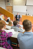 Teacher with students at the lecture hall Royalty Free Stock Photography