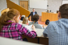Teacher with students at the lecture hall Stock Image