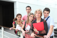 Teacher and students outside Royalty Free Stock Photos