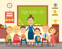 Teacher and students, pupils in the classroom. Portrait of female teacher standing with students, pupils in the classroom, flat cartoon, comic style vector stock illustration