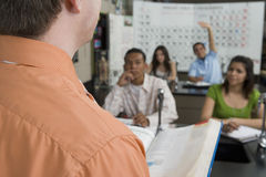 Teacher With Students In Science Class Royalty Free Stock Photo