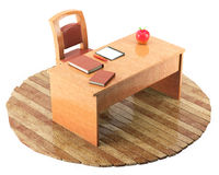 Teacher table with a chair. Books, notebook and pen on wooden floor, isolated on white background. 3d rendering Royalty Free Stock Photos