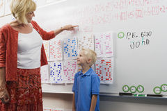 Teacher Talking With Little Boy Royalty Free Stock Photography