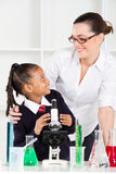 Teacher talking to elementary student Royalty Free Stock Photography