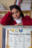 Hispanic Home School Teacher with Bible Chart Stock Photography