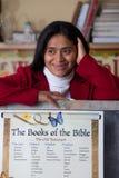 Hispanic Home School Teacher with Bible Chart Royalty Free Stock Photos