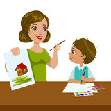 Teacher Teaching a Boy How To Paint, Elementary School Art Class Vector Illustration. Craft And Art For Young Kids Isolated Cartoon Vector Illustration Royalty Free Stock Photos