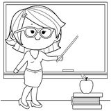 Teacher teaching at class coloring book page. Royalty Free Stock Photo