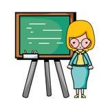 Teacher teaching class lesson in the backcoard. Vector illustration Stock Images