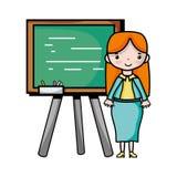 Teacher teaching class lesson in the backcoard. Vector illustration Stock Photo