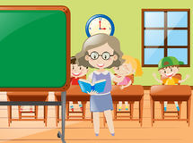 Teacher teaching in classroom at school. Illustration Stock Images