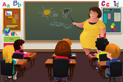 Teacher teaching  in a Classroom. A vector illustration of teacher teaching biology in a classroom Stock Image