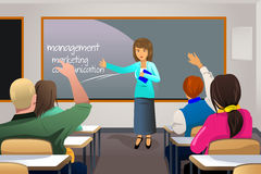 Teacher teaching college student. A vector illustration of college students in class with professor teaching Stock Image