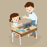 Teacher teaching computer to student girl Royalty Free Stock Images