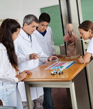 Teacher Teaching Experiment To Students In Lab Stock Images