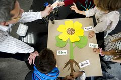 Teacher teaching flower structure to diverse kindergarten. Teacher teaching flower structure to diverse group of kindergarten students in science class Stock Photo