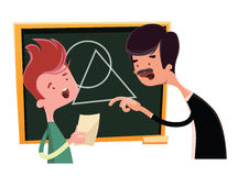 Teacher teaching geometrical shapes  illustration cartoon character Royalty Free Stock Photo