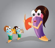 Teacher Teaching her Students. Pencil Character. Stock Image