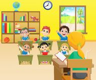 Teacher teaching a lesson in class at the elementary school. Vector illustration of Teacher teaching a lesson in class at the elementary school Stock Images
