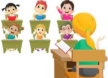 Teacher teaching a lesson in class at the elementary school. Vector illustration of Teacher teaching a lesson in class at the elementary school isolated on white Royalty Free Stock Images