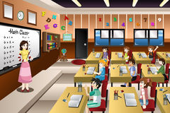 Teacher Teaching Math in Classroom. A vector illustration of teacher teaching math in a classroom Royalty Free Stock Photography