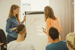 Teacher teaching mathematics to college students Royalty Free Stock Image