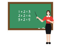 Teacher teaching maths. A set illustration of a female teacher standing in front of class and teaching mathematic Royalty Free Stock Photography