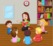 Teacher telling a story to kids in the classroom Vector Illustration