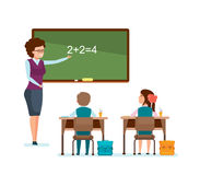 Teacher tells school material, explains decision, schoolchildren write down information. Royalty Free Stock Photo