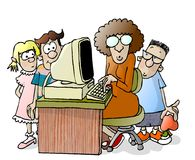 Teacher and three students. This illustration that I created depicts a techer seated at a computer with three students around her Stock Photos