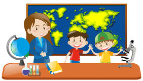 Teacher and two students in geography class Stock Images