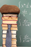 Teacher. Unusual parody joke. Teacher before chalk board with integrals Stock Photo