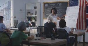 Teacher using flip chart while explaining to a class stock photo