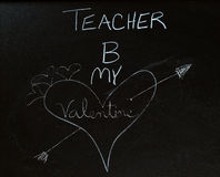 Teacher Valentine. An illustration with chalk of a heart with an arrow through it Royalty Free Stock Photos