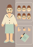 Teacher. Vector illustration of a teacher with different emotions and hand gestures to choose Stock Image