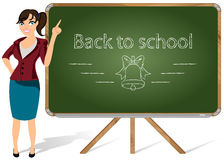 Teacher. Vector illustration of a teacher pointing to blackboard on a white background Royalty Free Stock Photo