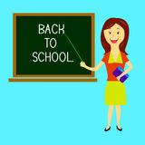 Teacher welcomes students back to school Royalty Free Stock Photos