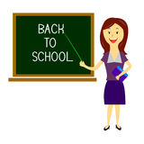 Teacher welcomes students back to school 2 Royalty Free Stock Photos