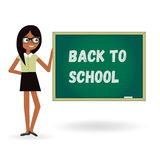 Teacher woman back to school with board. Cartoon template illustration. Teacher woman back to school with board. Illustration template Stock Photo