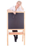 Teacher woman with blackboard Royalty Free Stock Photos