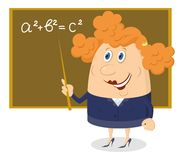 Teacher woman with blackboard. School teacher showing with her pointer on blackboard with Pythagorean theorem, funny cartoon character Stock Images