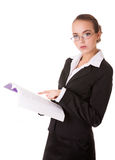 Teacher woman in business suit with book