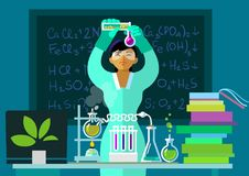 Teacher woman make chemistry experiment in classroom. Vector. Teacher woman make chemistry experiment in classroom. Asian scientist holding flasks is doing stock illustration