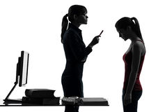 Teacher woman mother teenager girl reproach discussion Royalty Free Stock Photography