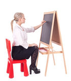 Teacher woman writing on blackboard Royalty Free Stock Image