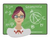 Teacher Women. Young teacher of geometry near the blackboard Royalty Free Stock Image